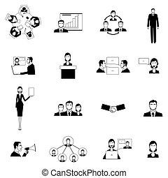 Reunión de negocios con iconos planos