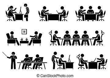 Reunión de negocios, conferencia y discusión.