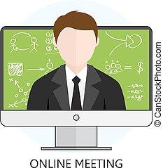 reunión en línea, concepto
