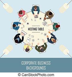 Reunión en la mesa de arriba