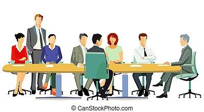 reunión, equipo, empresa / negocio, illustration.eps, el consultar