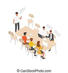 reunión, hablar, cada, grupo, equipo, trabajadores, vector, isométrico, comunicación, oficina, empresa / negocio, sentado, gente, discusión, negotiation., trabajo, formal, tabla, illustration., o, otro., idea genial