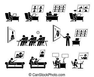 reunión línea, hogar, wfh, icons., o, vídeo, trabajo, conferencia