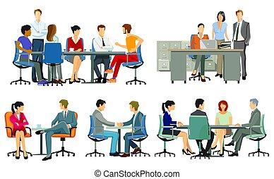reuniones del equipo, empresa / negocio, consejo, meetings.eps