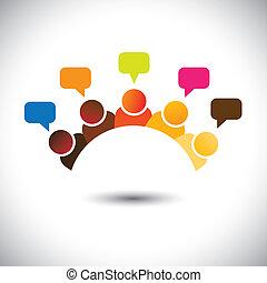 Reuniones, discusiones, opiniones, vector gráfico. Esta ilustración puede representar a miembros del personal, reuniones de grupos, discusiones de cerebros, opiniones de aire, trabajo en equipo, etc