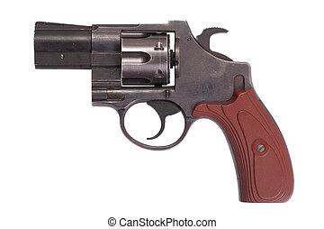 revólver, blanco, arma de fuego, plano de fondo, aislado