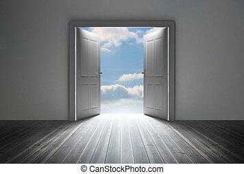reveladoras, puerta azul, cielo, brillante