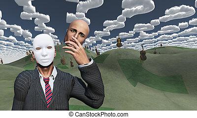 revelar, máscara, quita, cara, debajo, surreal, paisaje, hombre