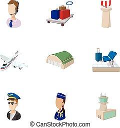 Revisa en el set de iconos del aeropuerto, estilo de dibujos animados