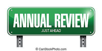 revisión, anual, ilustración, señal, diseño, camino