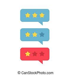 Revisión de vector de icono, reseña de estrellas con charla de buena y mala tasa, concepto de mensajes testimoniales