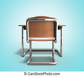 Revisión escolar y silla 3D de fondo gradiente