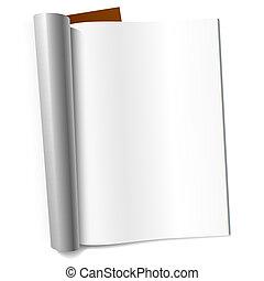 revista, página, blanco