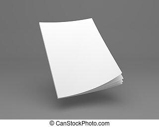 Revista voladora en blanco o folleto ilustración 3D.