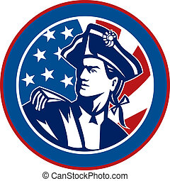 revolucionario, dentro, plano de fondo, norteamericano, rayas, conjunto, círculo, estrellas, bandera, soldado