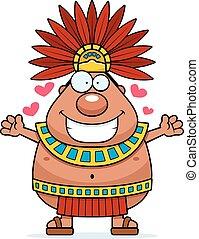 rey, abrazo, caricatura, azteca
