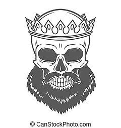 rey, barbudo, viejo, illustration., cráneo, vendimia, real, príncipe, camiseta, cruel, crown., tirano, retrato, logotipo, template., design.