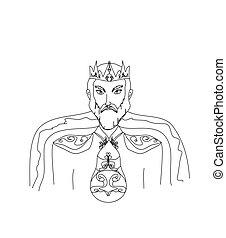 Rey en un fondo blanco, ilustración dibujada a mano