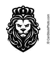Rey León al estilo antiguo. Ilustración de vectores.