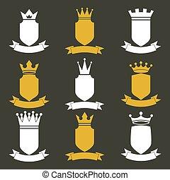 rey, ondular, conjunto, illustration., elements., festivo, real, heráldico, corona, colección, ribbon., vector, diseño, lujo, corona, imperio, protectores