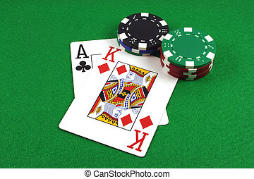rey, póker, as, grande, -, capa, pedacitos