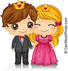 rey, reina, corazones