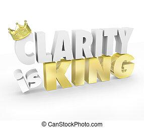rey, simple, comunicación, entender, palabras, mensaje, claridad, 3d
