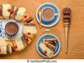 reyes, de, o, pastel, rosca, roscon, epifanía, reyes