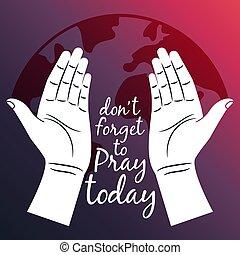 Reza por el póster del mundo con las manos abiertas