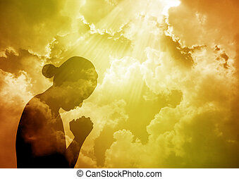 rezando, mujer
