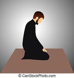 rezando, vector, macho, musulmán
