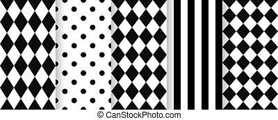 rhombuses., arlequín, blanco, pattern., seamless, illustration., negro, vector, plano de fondo