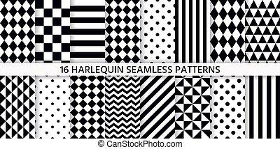 rhombuses., arlequín, illustration., pattern., negro, fondo blanco, seamless, vector
