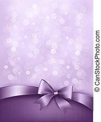ribbon., arco obsequio, elegante, vector, plano de fondo, feriado