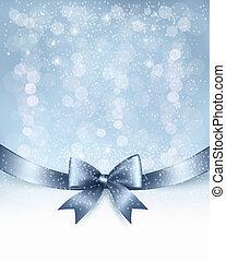 ribbon., arco obsequio, vector, brillante, plano de fondo, feriado, navidad