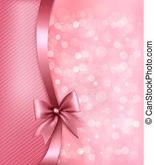 ribbon., papel, viejo, plano de fondo, feriado, regalo, vector, arco, rosa