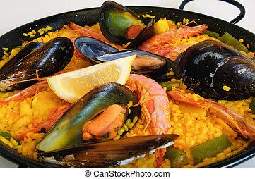 rice:, paella, español