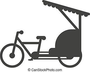 Rickshaw indonesia taxi Yakarta viaje de transporte icono ilustración de vectores planos.