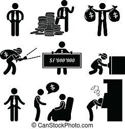 Ricos y pobres hombres pictograma