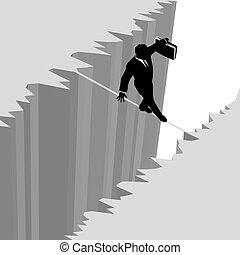 riesgo, empresa / negocio, peligro, encima, gota, cuerda de equilibrista, paseos, hombre, acantilado