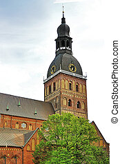 riga, cúpula, torre, pueblo, catedral, viejo