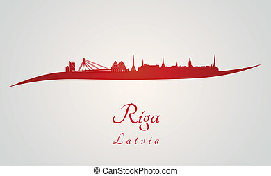 Riga skyline en rojo