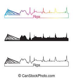 Riga skylinear estilo lineal con arco iris