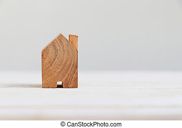 right., copia, casa, modelo de madera, espacio