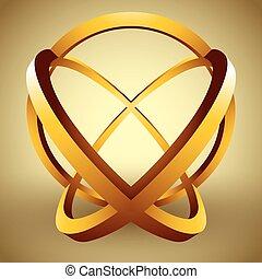 rings., esfera, resumen, hecho, 3d