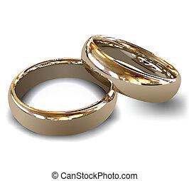 rings., vector, oro, boda