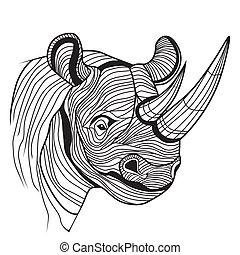 rinoceronte, cabeza, animal, rinoceronte