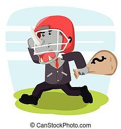 Rinoceronte de negocios con casco de fútbol que lleva choza de dinero