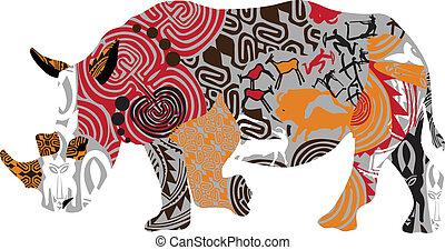 rinoceronte, ethni, silueta
