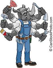 rinoceronte, factótum, tenencia, herramientas, multitáreas